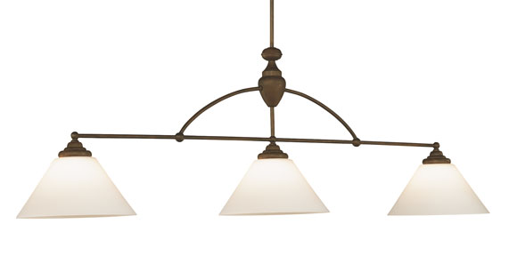 Brunswick Centennial Lamp - Antique Brown with Frosted White Shadess